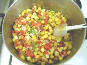 Raw ingredients for salsa