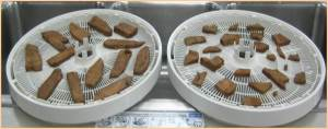 Pieces of meat on dryer tray