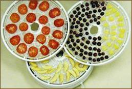 Trays with fruits and veggies