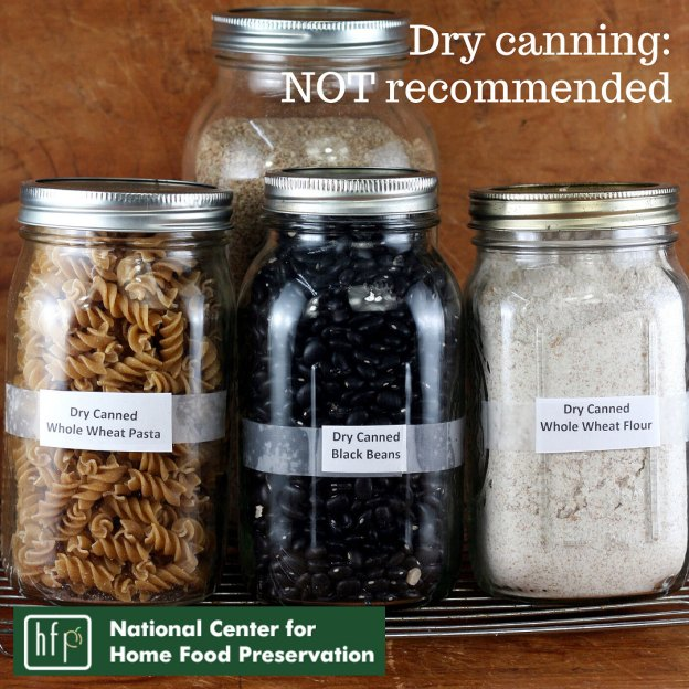Dry grains and beans in canning jars